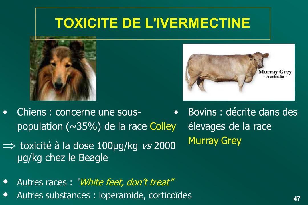 47 Chiens : concerne une sous- population (~35%) de la race Colley toxicité à la dose 100µg/kg vs 2000 µg/kg chez le Beagle Bovins : décrite dans des