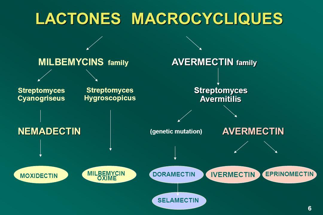 37 Milbemycine produit par fermentation de Streptomyces cyaneogriseus Ses propriétés anthelmintiques sont supérieures à ses propriétés insecticides (ex.: à 200 g/kg, la moxidectine n est pas active contre Dermatobia ruminis et Damalinia bovis (poux piqueurs)) Les nematodes limitants sont Cooperia oncophora et Nematodirus helvetianus LA MOXIDECTINE
