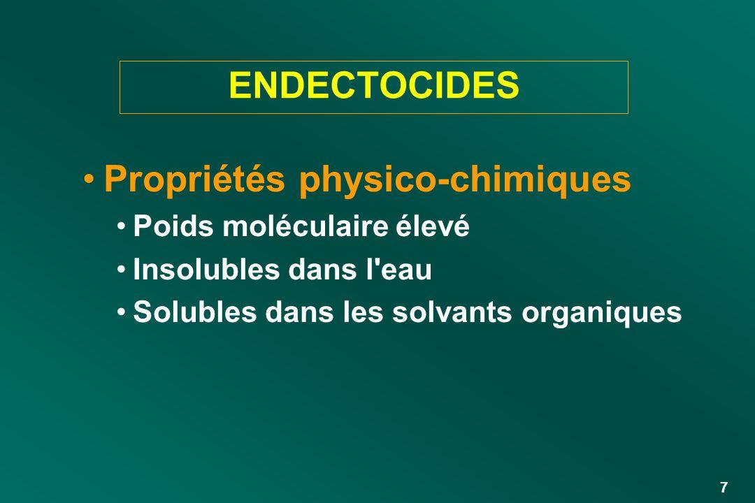 7 ENDECTOCIDES Propriétés physico-chimiques Poids moléculaire élevé Insolubles dans l'eau Solubles dans les solvants organiques