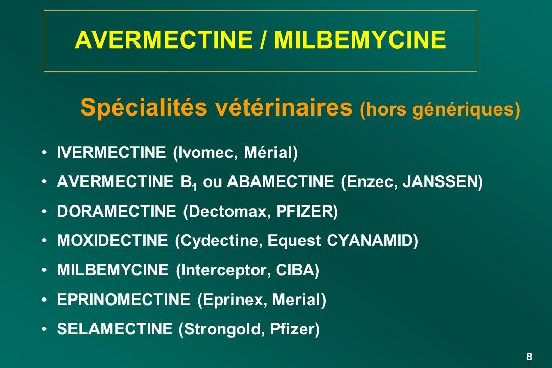 8 AVERMECTINE / MILBEMYCINE IVERMECTINE (Ivomec, Mérial) AVERMECTINE B 1 ou ABAMECTINE (Enzec, JANSSEN) DORAMECTINE (Dectomax, PFIZER) MOXIDECTINE (Cy