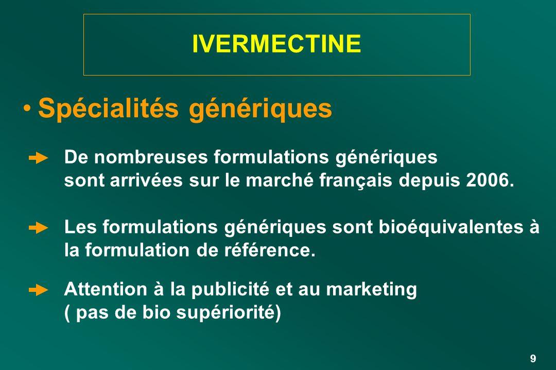 9 IVERMECTINE Spécialités génériques De nombreuses formulations génériques sont arrivées sur le marché français depuis 2006. Les formulations génériqu