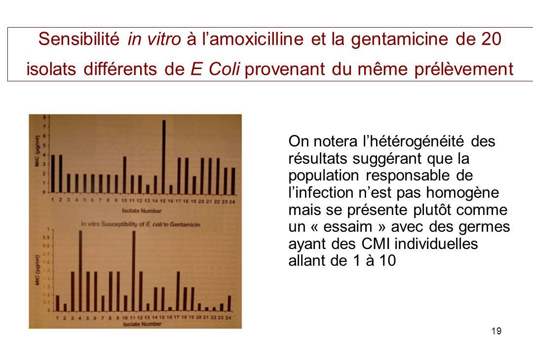 19 Sensibilité in vitro à lamoxicilline et la gentamicine de 20 isolats différents de E Coli provenant du même prélèvement On notera lhétérogénéité des résultats suggérant que la population responsable de linfection nest pas homogène mais se présente plutôt comme un « essaim » avec des germes ayant des CMI individuelles allant de 1 à 10