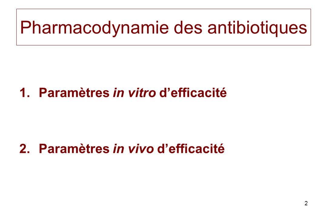 43 Rapport CMB / CMI Phénomène de tolérance : si R > 32 Antibiotiques bactériostatiques vs bactéricidies (bactéricides si CMB = CMI)