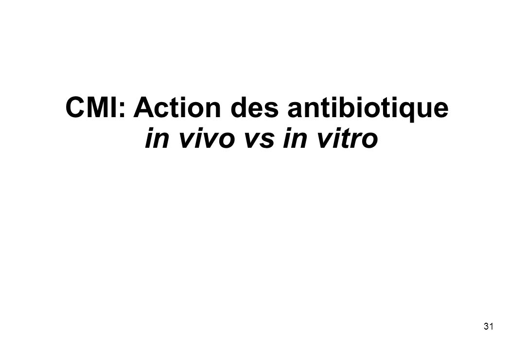 31 CMI: Action des antibiotique in vivo vs in vitro