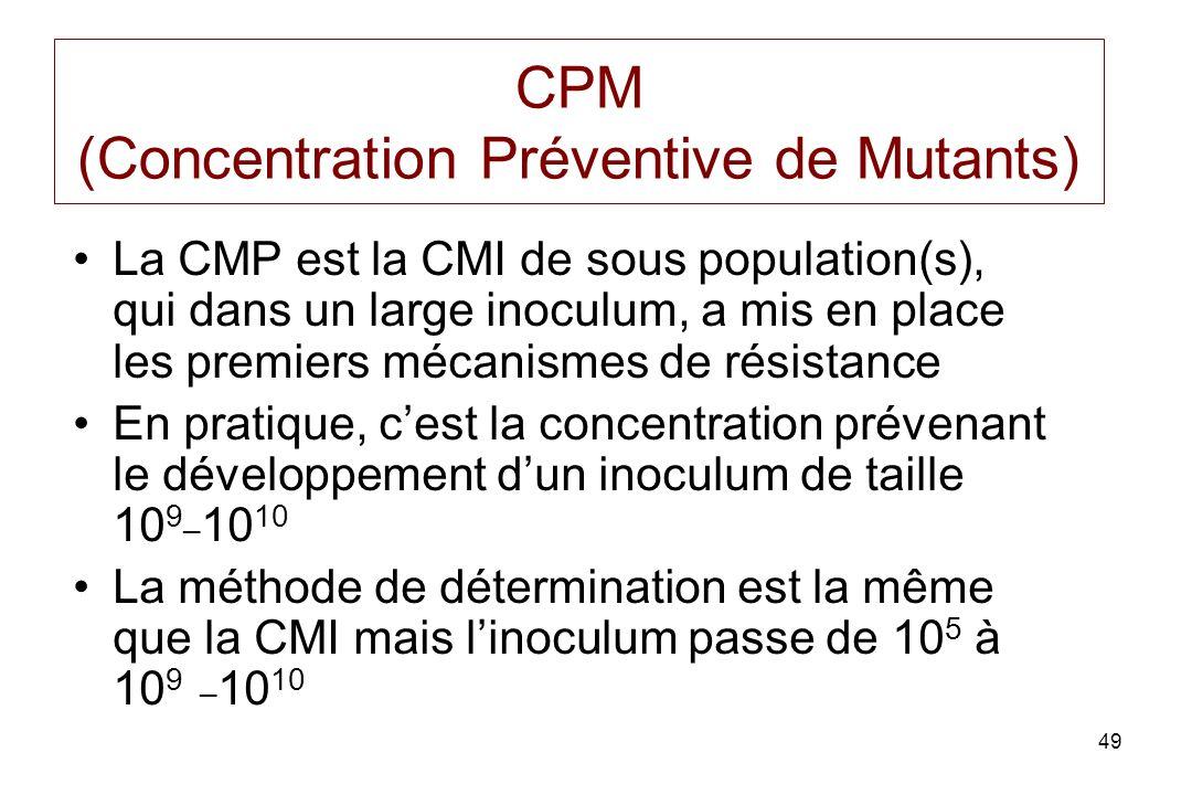 49 CPM (Concentration Préventive de Mutants) La CMP est la CMI de sous population(s), qui dans un large inoculum, a mis en place les premiers mécanismes de résistance En pratique, cest la concentration prévenant le développement dun inoculum de taille 10 9_ 10 10 La méthode de détermination est la même que la CMI mais linoculum passe de 10 5 à 10 9 _ 10 10