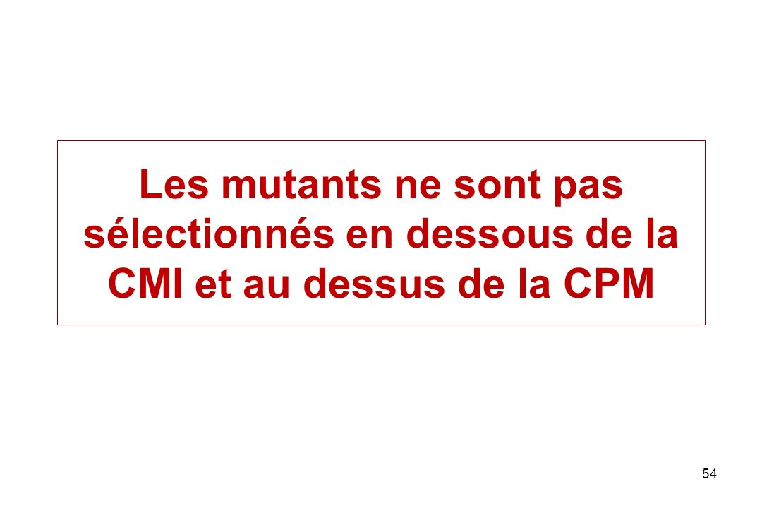 54 Les mutants ne sont pas sélectionnés en dessous de la CMI et au dessus de la CPM