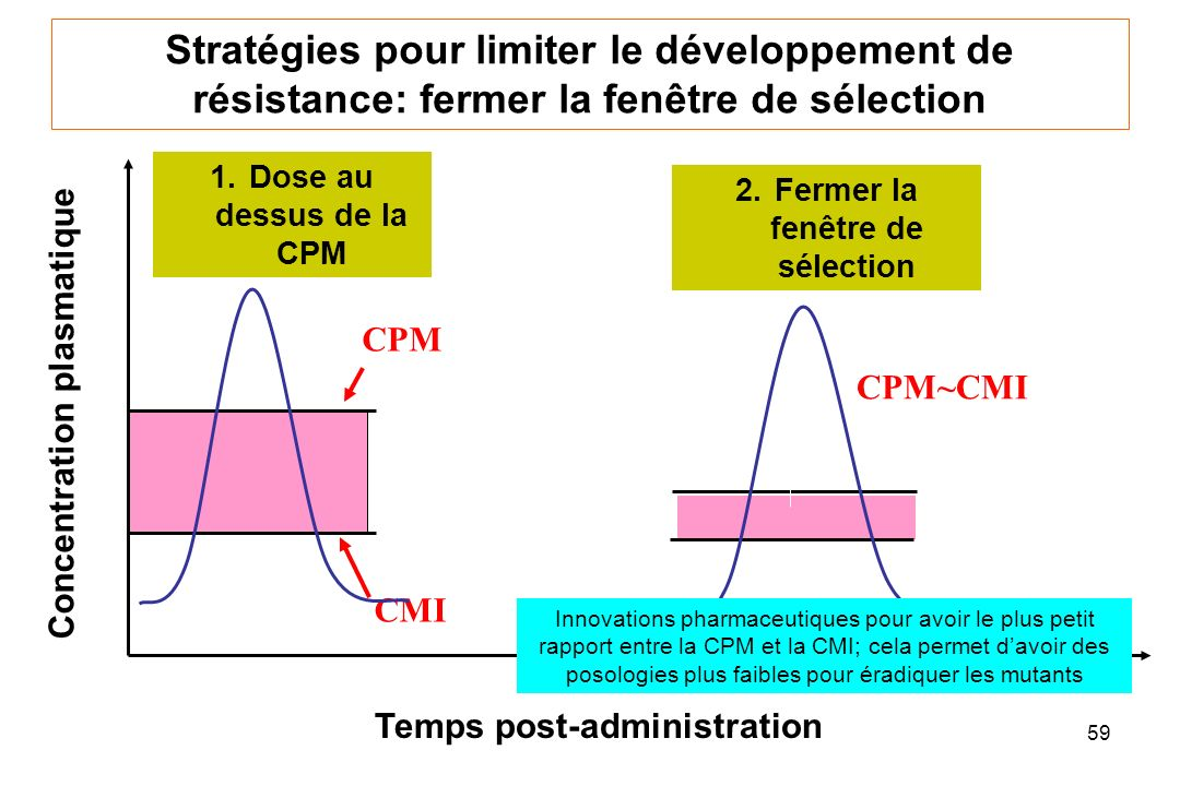 59 Temps post-administration Concentration plasmatique 1.Dose au dessus de la CPM Stratégies pour limiter le développement de résistance: fermer la fenêtre de sélection CPM CMI 2.Fermer la fenêtre de sélection CPM~CMI Innovations pharmaceutiques pour avoir le plus petit rapport entre la CPM et la CMI; cela permet davoir des posologies plus faibles pour éradiquer les mutants