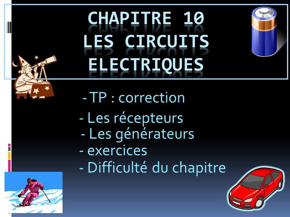 - TP : correction - Les récepteurs - exercices - Difficulté du chapitre - Les générateurs