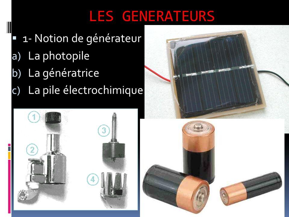 LES GENERATEURS 1- Notion de générateur a) La photopile b) La génératrice c) La pile électrochimique