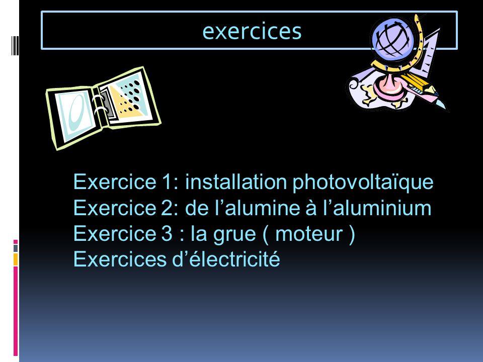 exercices Exercice 1: installation photovoltaïque Exercice 2: de lalumine à laluminium Exercice 3 : la grue ( moteur ) Exercices délectricité