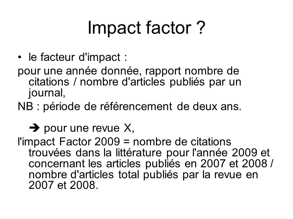 Impact factor .