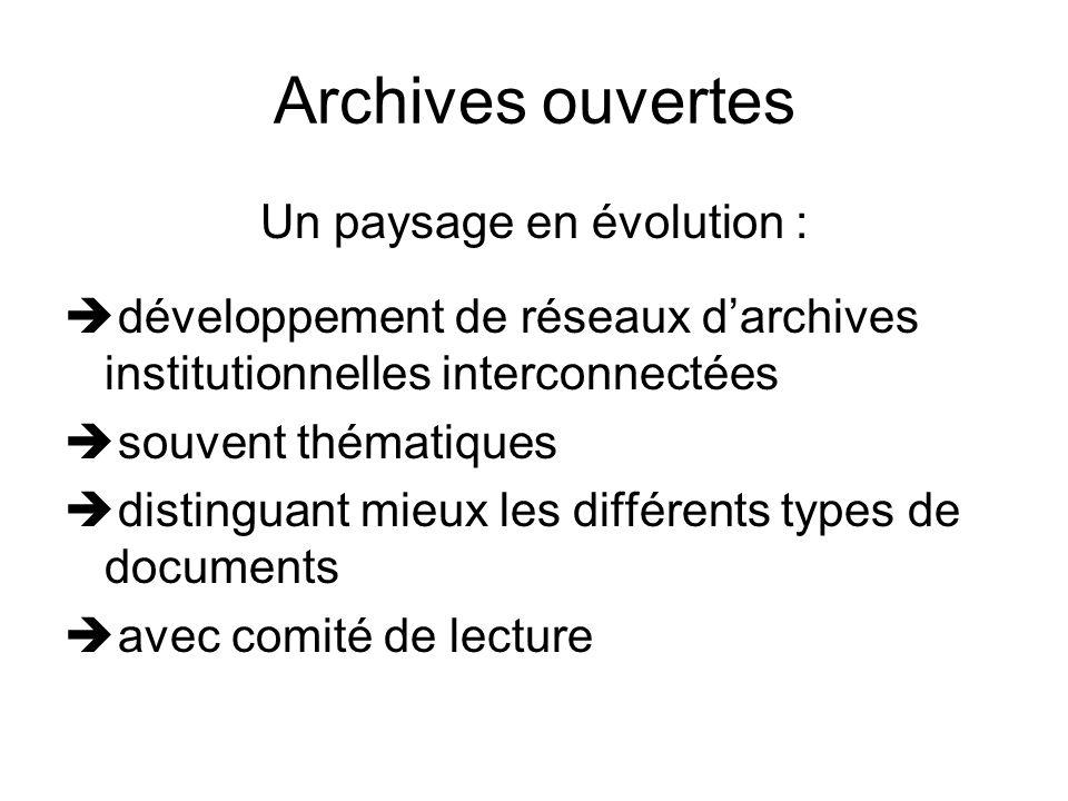 Archives ouvertes Un paysage en évolution : développement de réseaux darchives institutionnelles interconnectées souvent thématiques distinguant mieux les différents types de documents avec comité de lecture