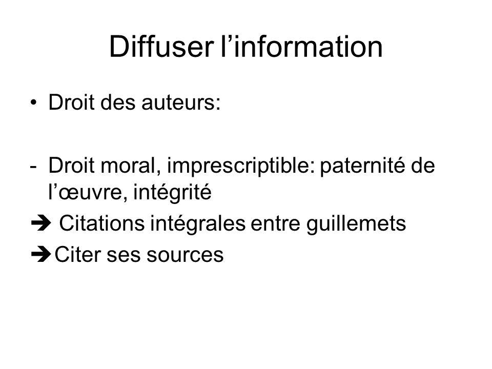 Diffuser linformation Droit des auteurs: -Droit moral, imprescriptible: paternité de lœuvre, intégrité Citations intégrales entre guillemets Citer ses sources