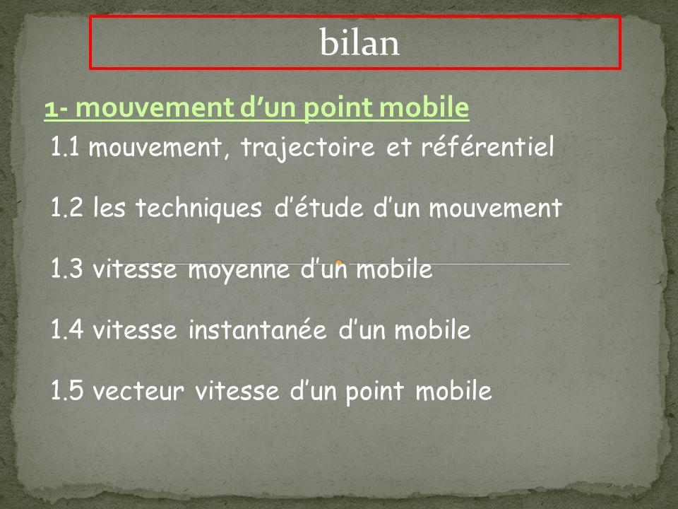 bilan 1- mouvement dun point mobile 1.1 mouvement, trajectoire et référentiel 1.2 les techniques détude dun mouvement 1.3 vitesse moyenne dun mobile 1