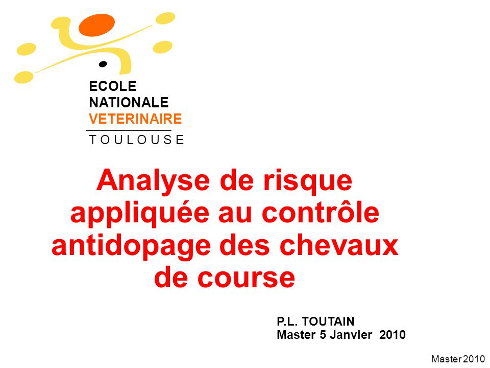 Master 2010 Sensitivity analysis It may be of interest to identify the relative impact of the different factors of variability on the final WT because some of these factors can be controlled by veterinarians.