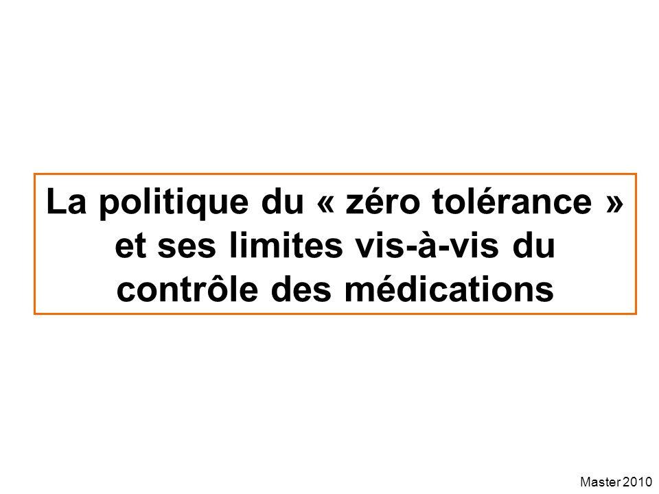 Master 2010 La politique du « zéro tolérance » et ses limites vis-à-vis du contrôle des médications