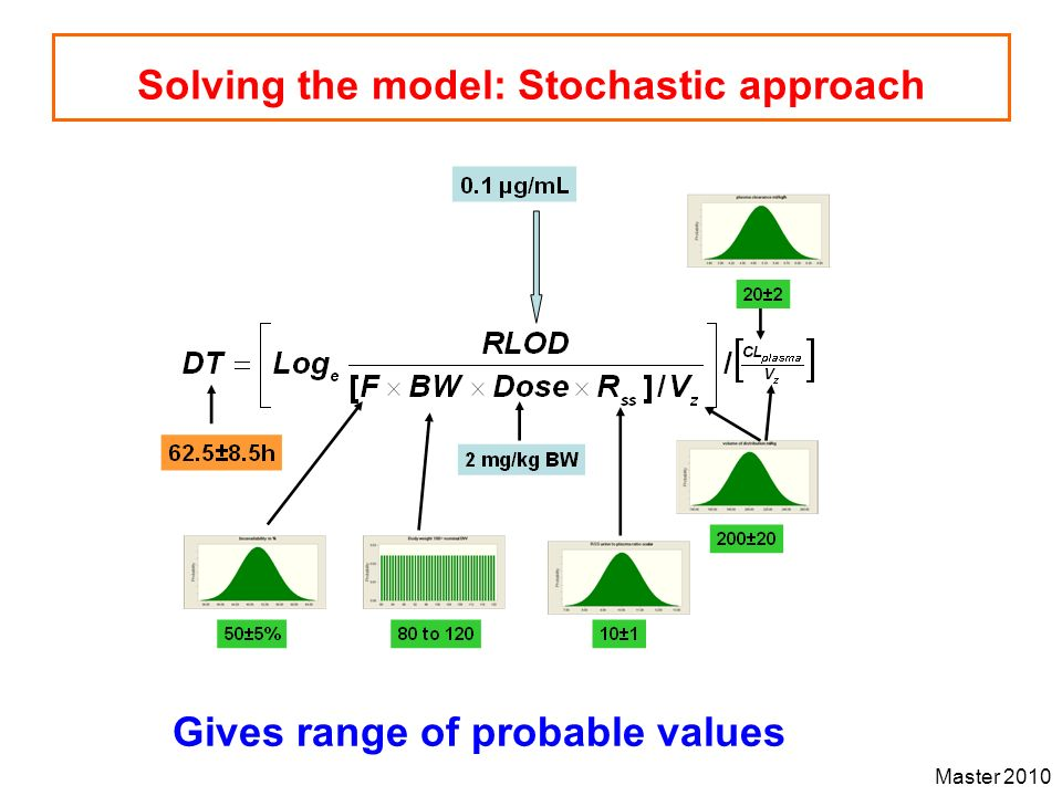 Master 2010 Solving the model: Stochastic approach Gives range of probable values