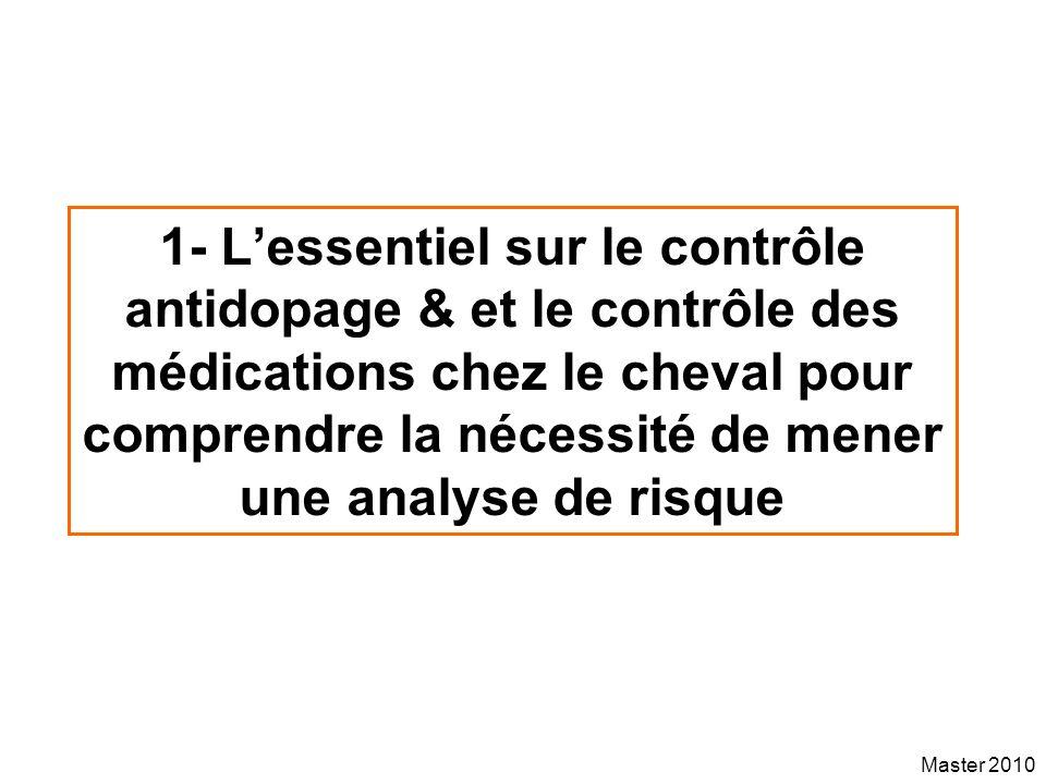 Master 2010 1- Lessentiel sur le contrôle antidopage & et le contrôle des médications chez le cheval pour comprendre la nécessité de mener une analyse
