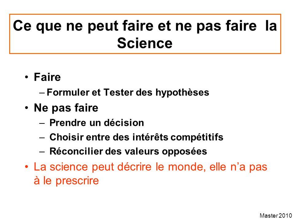 Master 2010 Ce que ne peut faire et ne pas faire la Science Faire –Formuler et Tester des hypothèses Ne pas faire – Prendre un décision – Choisir entr