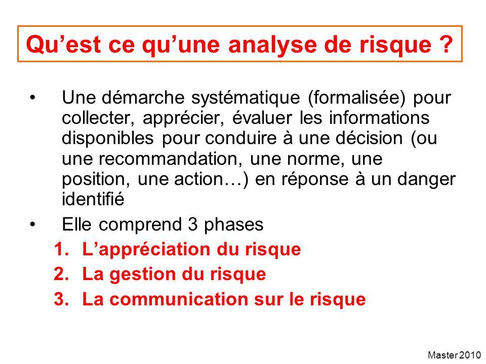 Master 2010 Quest ce quune analyse de risque ? Une démarche systématique (formalisée) pour collecter, apprécier, évaluer les informations disponibles