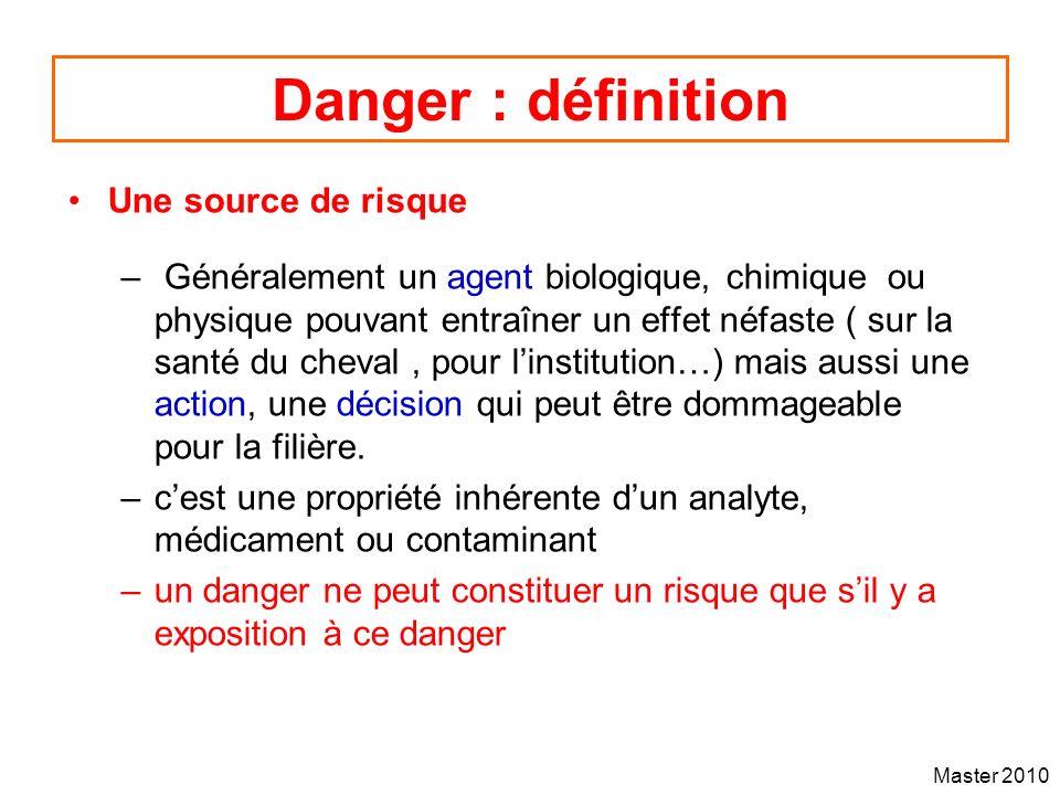 Master 2010 Danger : définition Une source de risque – Généralement un agent biologique, chimique ou physique pouvant entraîner un effet néfaste ( sur