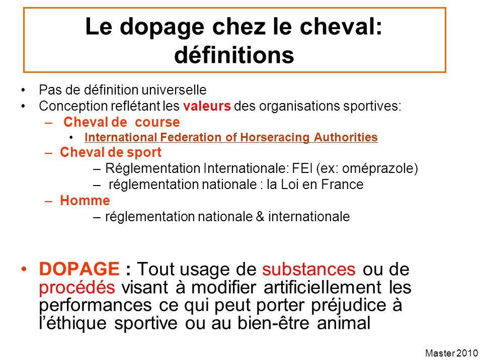 Master 2010 Le dopage chez le cheval: définitions Pas de définition universelle Conception reflétant les valeurs des organisations sportives: – Cheval