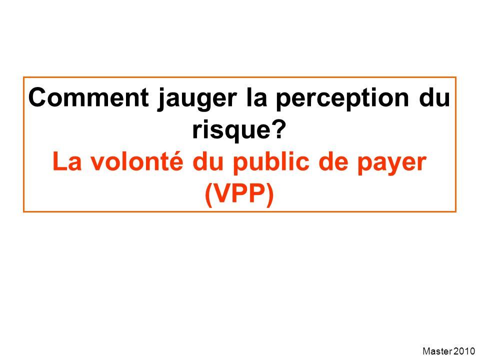 Master 2010 Comment jauger la perception du risque? La volonté du public de payer (VPP)
