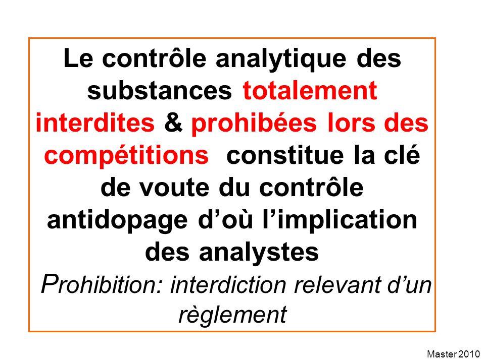 Master 2010 Le contrôle analytique des substances totalement interdites & prohibées lors des compétitions constitue la clé de voute du contrôle antido
