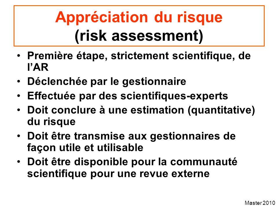 Master 2010 Appréciation du risque (risk assessment) Première étape, strictement scientifique, de lAR Déclenchée par le gestionnaire Effectuée par des