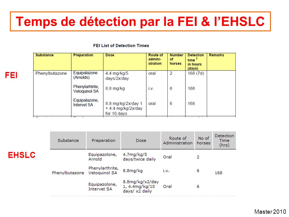 Master 2010 Temps de détection par la FEI & lEHSLC FEI EHSLC