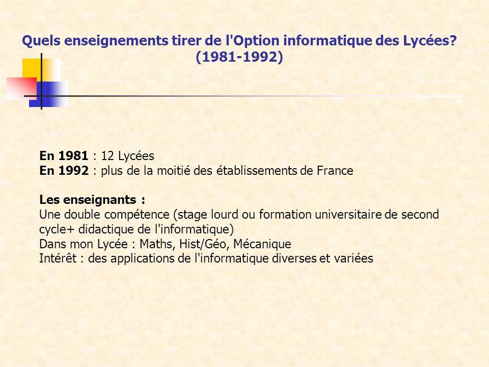 En 1981 : 12 Lycées En 1992 : plus de la moitié des établissements de France Les enseignants : Une double compétence (stage lourd ou formation univers