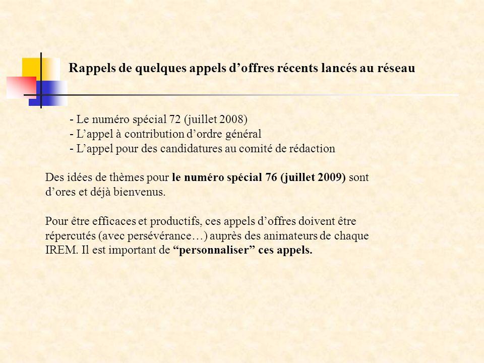 - Le numéro spécial 72 (juillet 2008) - Lappel à contribution dordre général - Lappel pour des candidatures au comité de rédaction Des idées de thèmes pour le numéro spécial 76 (juillet 2009) sont dores et déjà bienvenus.