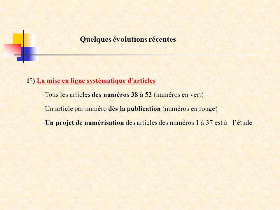 1°) La mise en ligne systématique d articlesLa mise en ligne systématique d articles Quelques évolutions récentes -Tous les articles des numéros 38 à 52 (numéros en vert) -Un article par numéro dès la publication (numéros en rouge) -Un projet de numérisation des articles des numéros 1 à 37 est à létude
