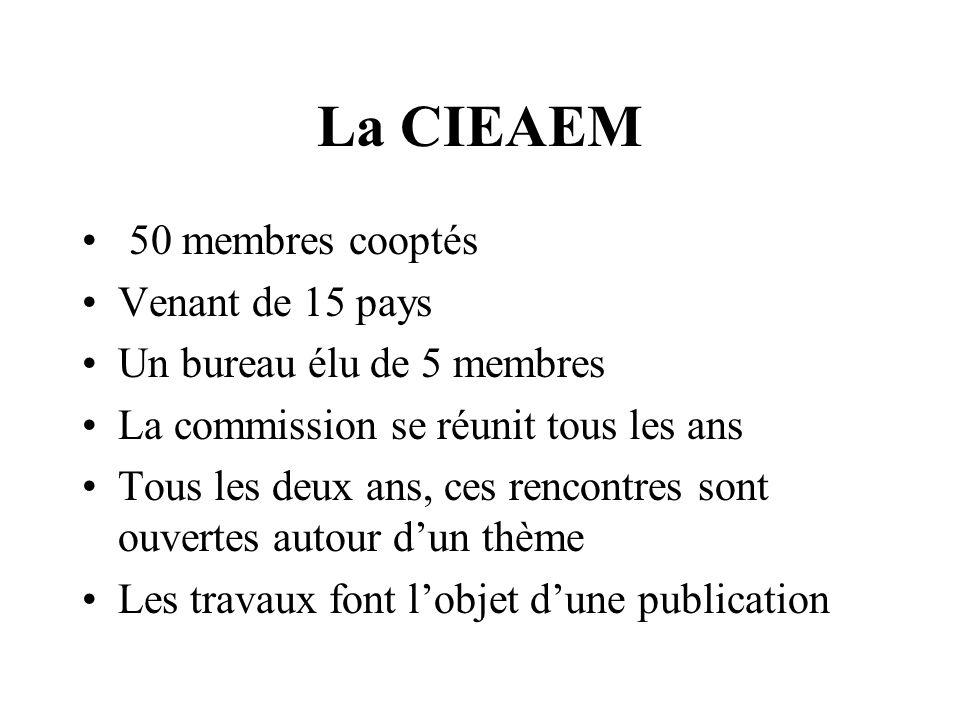 La CIEAEM 50 membres cooptés Venant de 15 pays Un bureau élu de 5 membres La commission se réunit tous les ans Tous les deux ans, ces rencontres sont