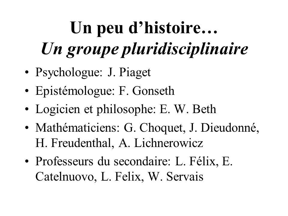 Un peu dhistoire… Un groupe pluridisciplinaire Psychologue: J. Piaget Epistémologue: F. Gonseth Logicien et philosophe: E. W. Beth Mathématiciens: G.