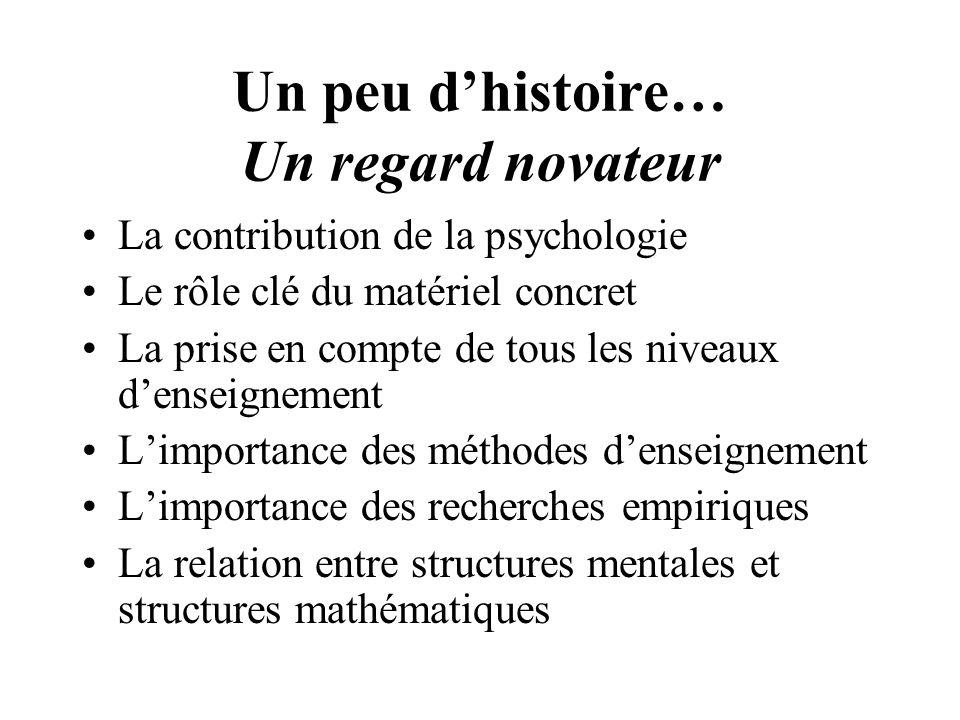 Un peu dhistoire… Un regard novateur La contribution de la psychologie Le rôle clé du matériel concret La prise en compte de tous les niveaux denseign