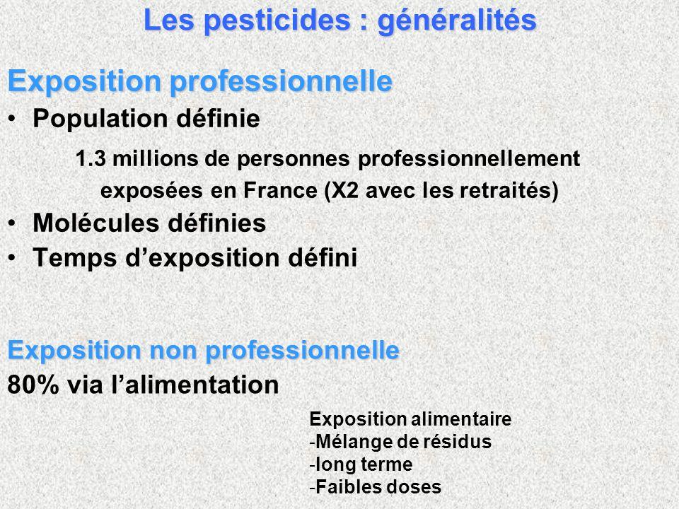 Exposition professionnelle Population définie 1.3 millions de personnes professionnellement exposées en France (X2 avec les retraités) Molécules définies Temps dexposition défini Exposition non professionnelle 80% via lalimentation Les pesticides : généralités Exposition alimentaire - -Mélange de résidus - -long terme - -Faibles doses