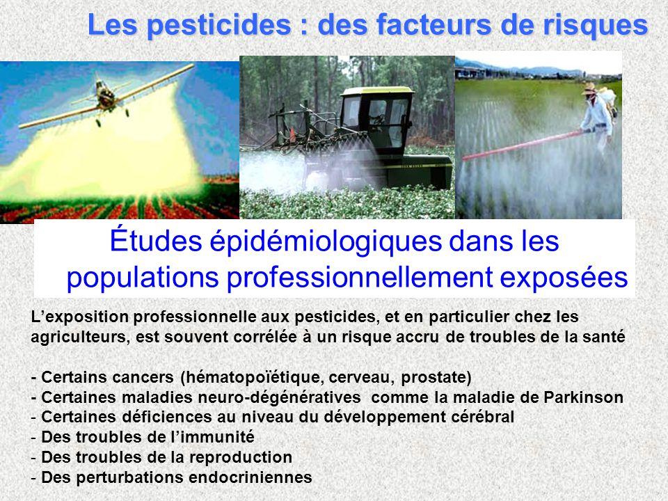 Lexposition professionnelle aux pesticides, et en particulier chez les agriculteurs, est souvent corrélée à un risque accru de troubles de la santé - Certains cancers (hématopoïétique, cerveau, prostate) - Certaines maladies neuro-dégénératives comme la maladie de Parkinson - - Certaines déficiences au niveau du développement cérébral - - Des troubles de limmunité - - Des troubles de la reproduction - - Des perturbations endocriniennes Études épidémiologiques dans les populations professionnellement exposées Les pesticides : des facteurs de risques