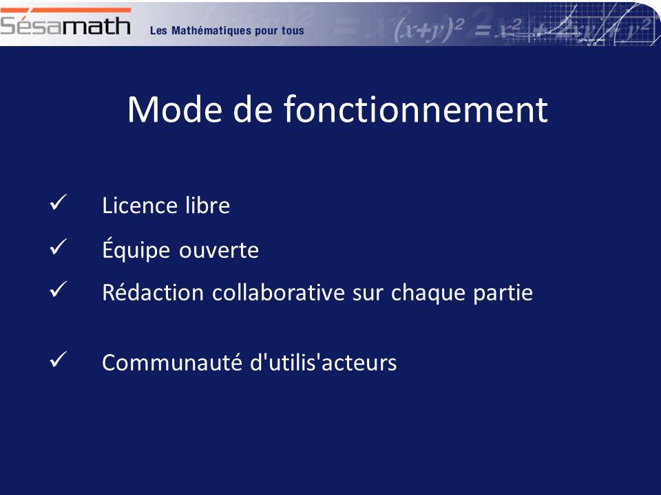 Mode de fonctionnement Équipe ouverte Rédaction collaborative sur chaque partie Licence libre Communauté d utilis acteurs