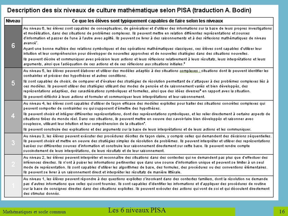 Mathématiques et socle commun 16 Les 6 niveaux PISA