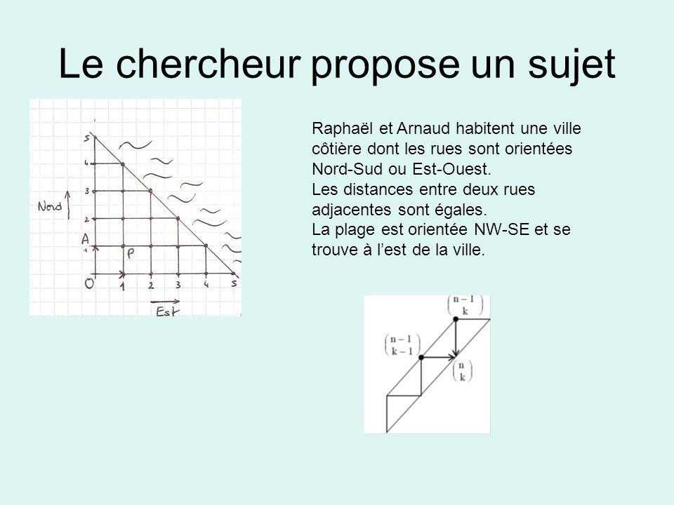 Le chercheur propose un sujet Raphaël et Arnaud habitent une ville côtière dont les rues sont orientées Nord-Sud ou Est-Ouest.