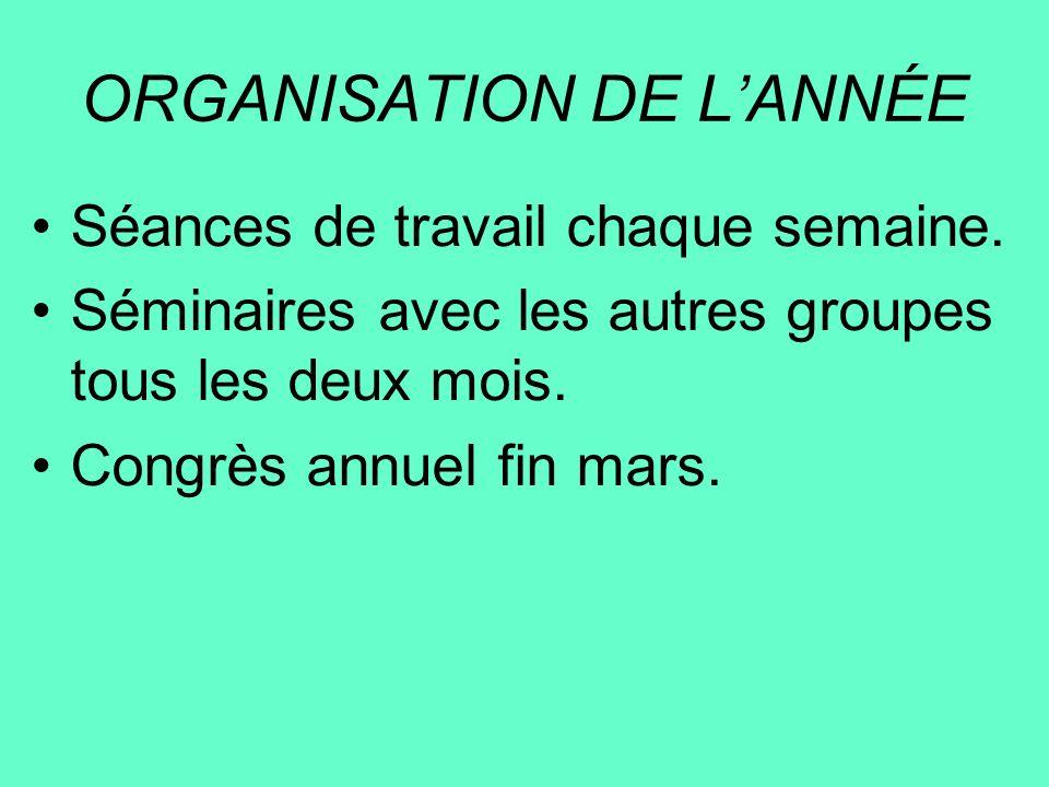 ORGANISATION DE LANNÉE Séances de travail chaque semaine. Séminaires avec les autres groupes tous les deux mois. Congrès annuel fin mars.