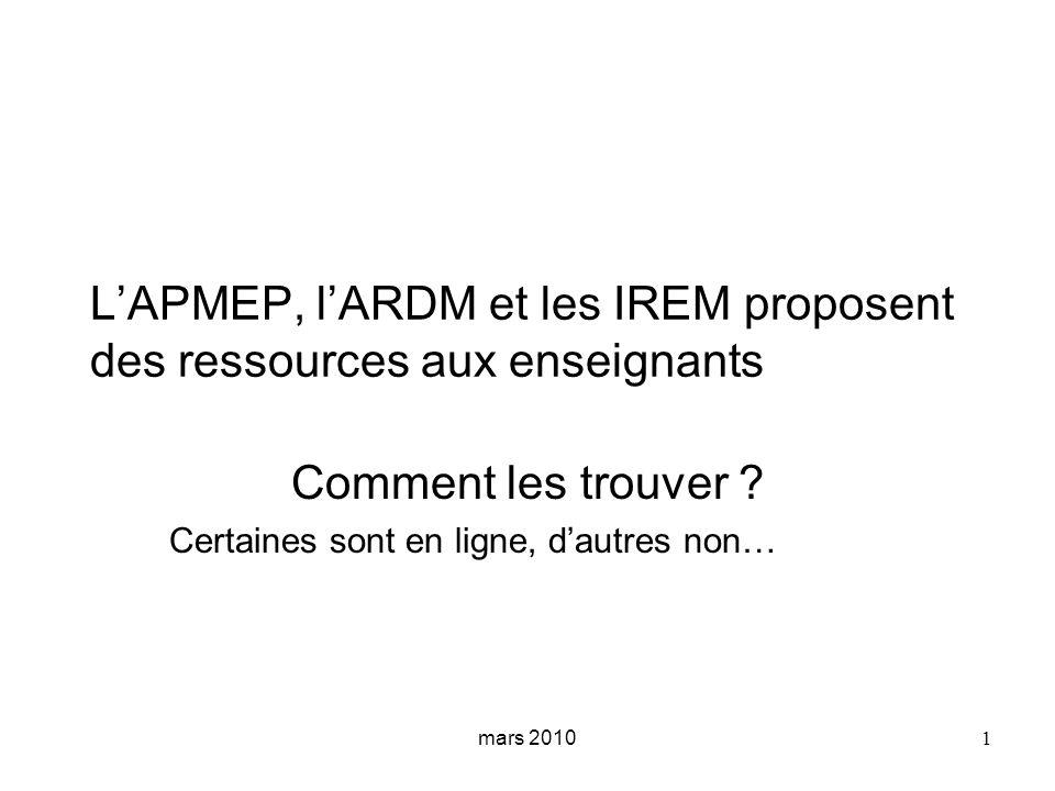 2 et de la http://publimath.irem.univ-mrs.fr/ développée depuis 1996 pardepuis 1996 et de la avec le soutien de