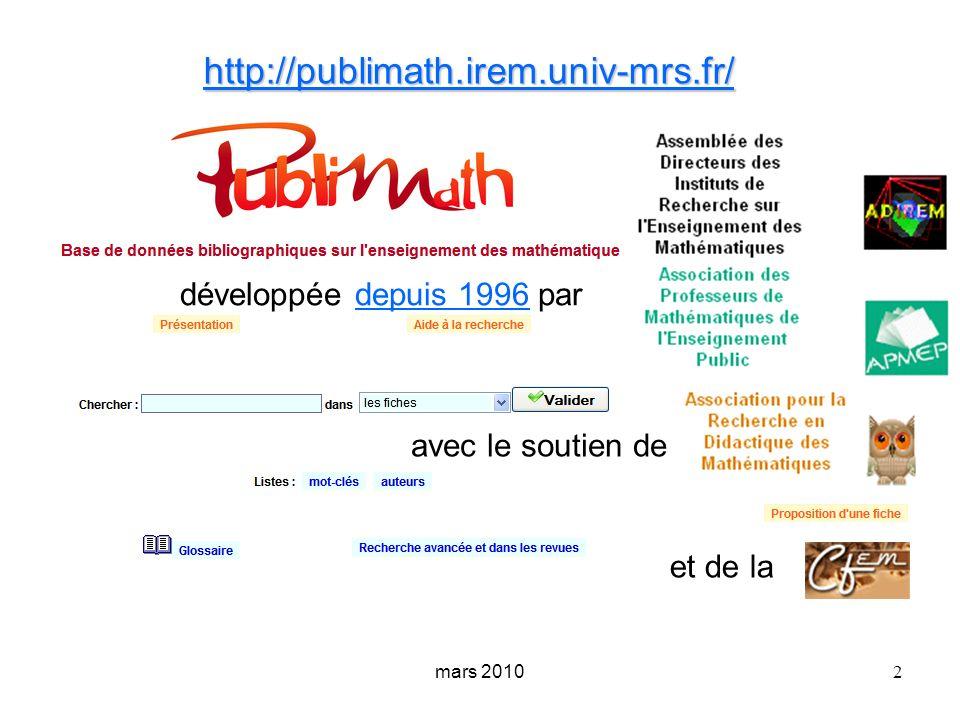 mars 2010 3 brochure IREM Ses données bibliographiques un résumé informatif complété par des notes