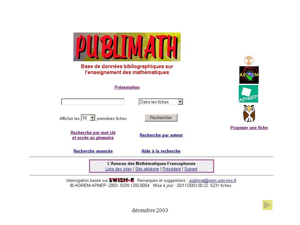 est développée depuis 1996 par l ADIREM (Assemblée des Directeurs dIREM) l APMEP (Association des Professeurs de Mathématiques de lEnseignement Public) avec le soutien de la CFEM (Commission Française de l Enseignement des Mathématiques)CFEM l ARDM (Association pour la Recherche en Didactique des Mathématiques)