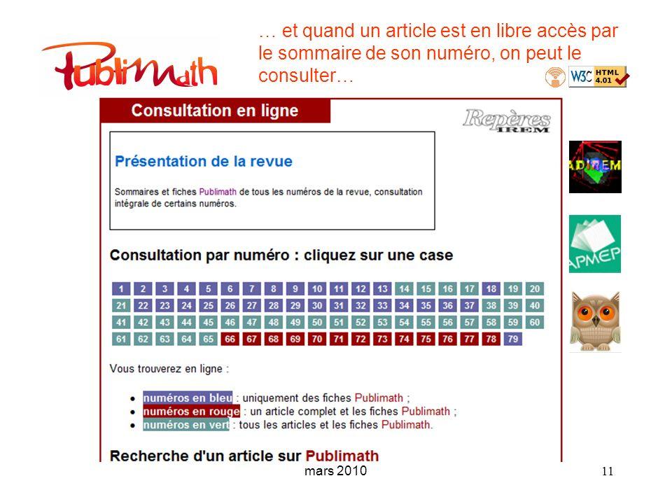 mars 2010 11 … et quand un article est en libre accès par le sommaire de son numéro, on peut le consulter…