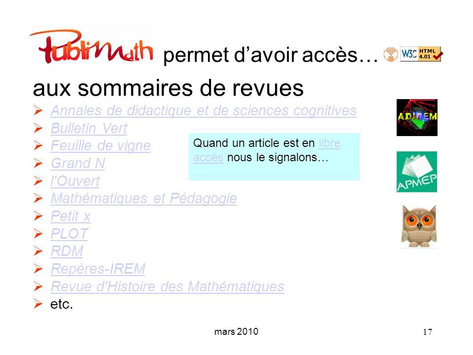 mars 2010 17 permet davoir accès… aux sommaires de revues Annales de didactique et de sciences cognitives Annales de didactique et de sciences cogniti