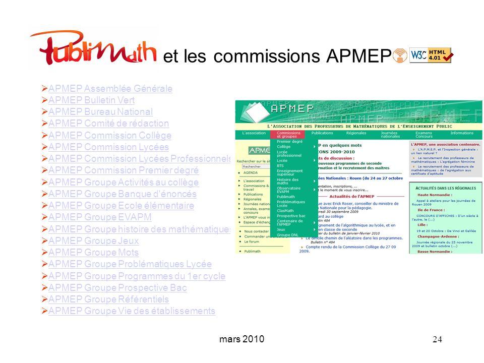 mars 2010 24 et les commissions APMEP APMEP Assemblée Générale APMEP Bulletin Vert APMEP Bureau National APMEP Comité de rédaction APMEP Commission Co