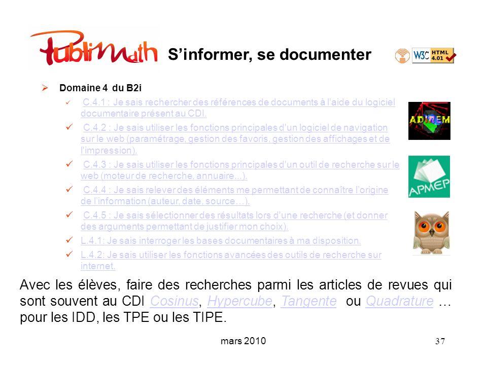 Sinformer, se documenter Domaine 4 du B2i C.4.1 : Je sais rechercher des références de documents à laide du logiciel documentaire présent au CDI. C.4.