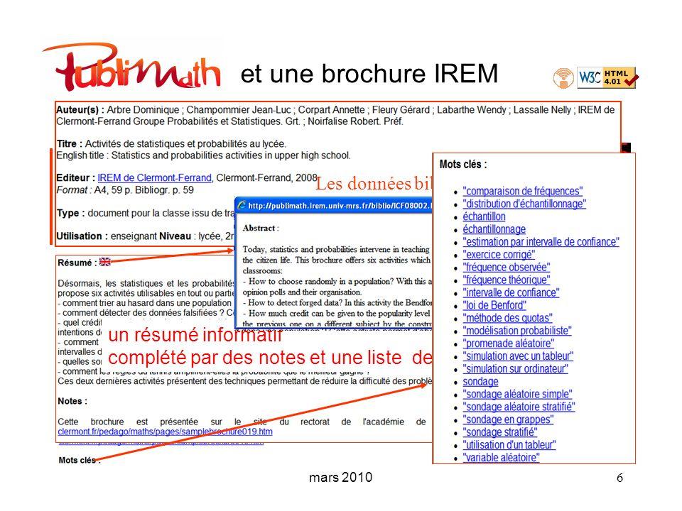 mars 2010 6 et une brochure IREM Les données bibliographiques un résumé informatif complété par des notes et une liste de mots clés….